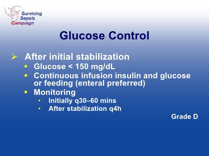 Glucose Control <ul><li>After initial stabilization </li></ul><ul><ul><li>Glucose < 150 mg/dL </li></ul></ul><ul><ul><li>C...