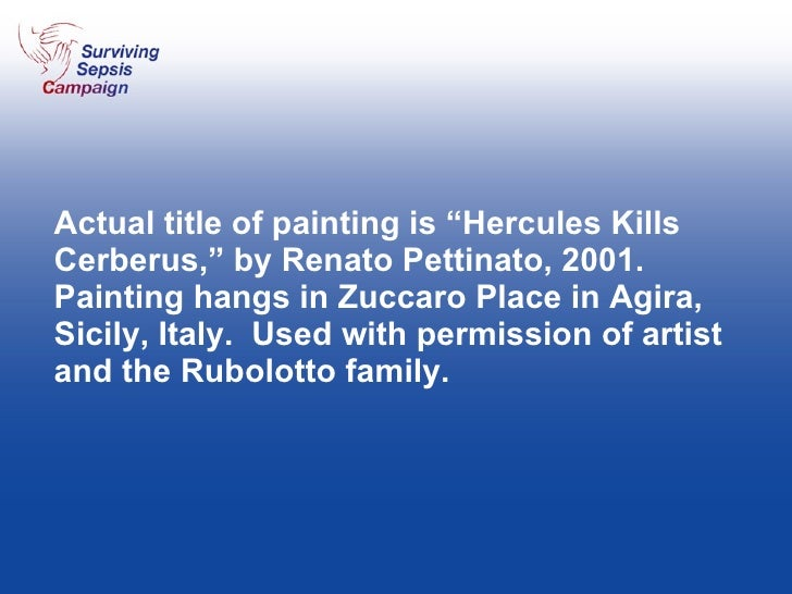 """Actual title of painting is """"Hercules Kills Cerberus,"""" by Renato Pettinato, 2001. Painting hangs in Zuccaro Place in Agira..."""