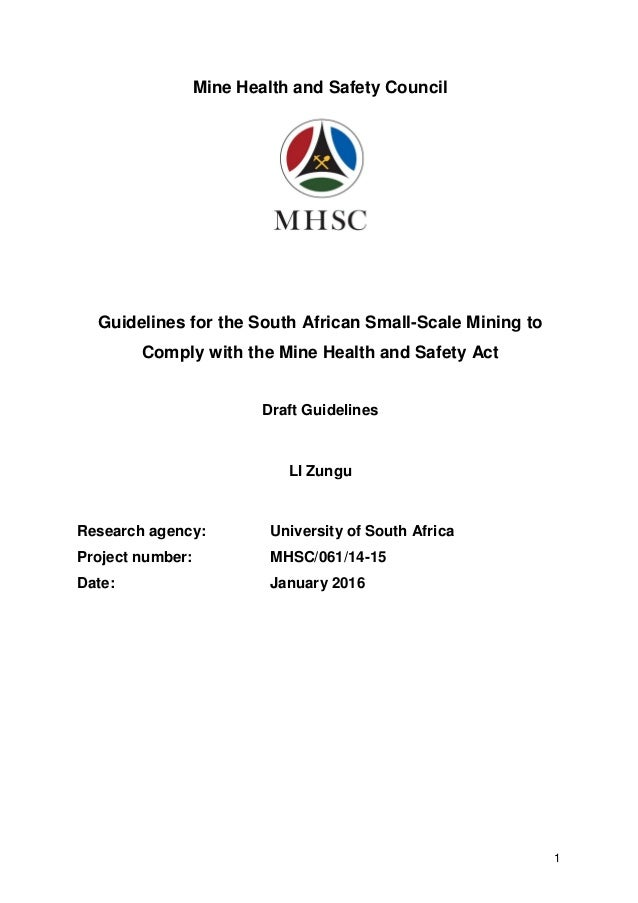 South Africa Guidelines mine health and safety