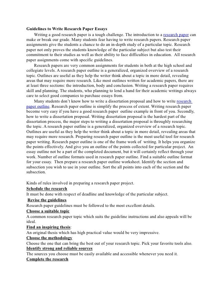 Guidelines To Write Research Paper Essays