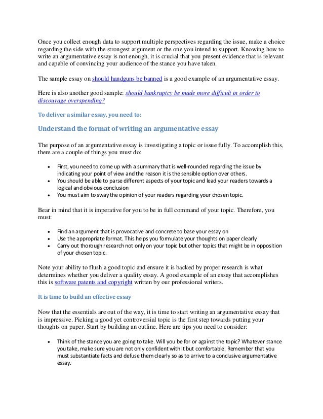 Guidelines To Writing An Argumentative Essay