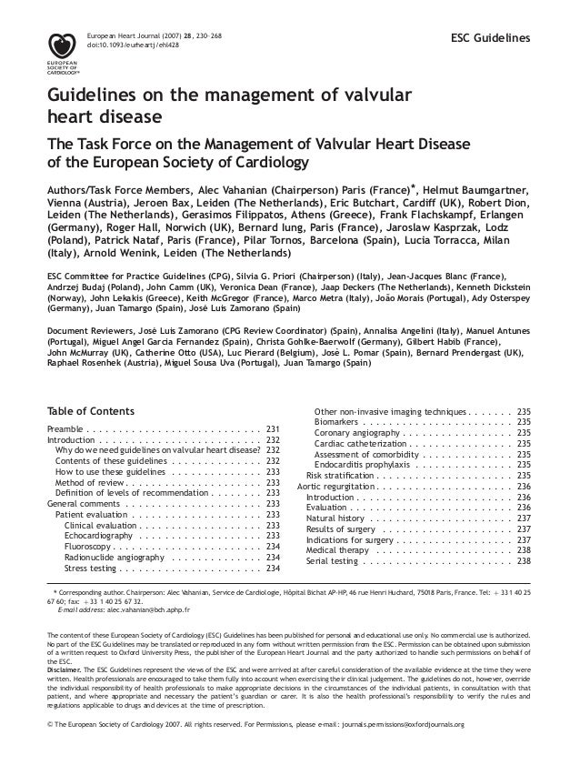ESC Guidelines Guidelines on the management of valvular heart disease The Task Force on the Management of Valvular Heart D...