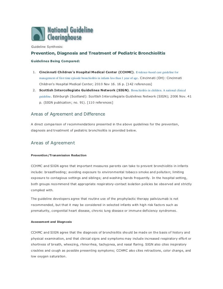 Guideline Synthesis:Prevention, Diagnosis and Treatment of Pediatric BronchiolitisGuidelines Being Compared: 1.   Cincinna...