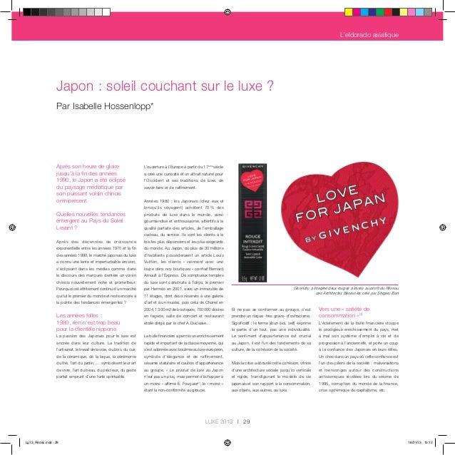 L'eldorado asiatique                Japon : soleil couchant sur le luxe ?                Par Isabelle Hossenlopp*         ...