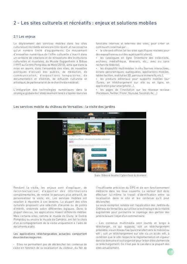 2.2 Usages Recensement des services mobiles dans les sites de visite On ne recense en mai 2011 quune trentaine de sites   ...