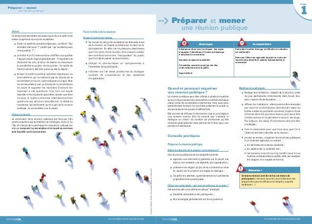 La concertation dans la conduite de projetPréparer et menerune réunion publiqueAnimerCe temps doit permettre de laisser la...