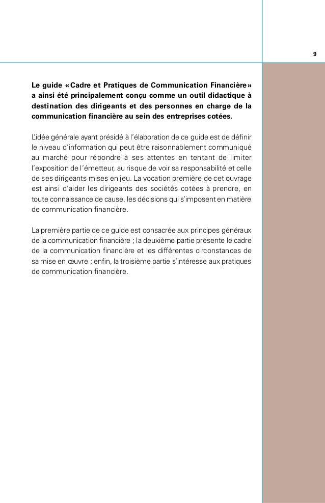 Introduction 8 I. Principes Généraux de Communication Financière 12 1zNotions d'information permanente, d'information...