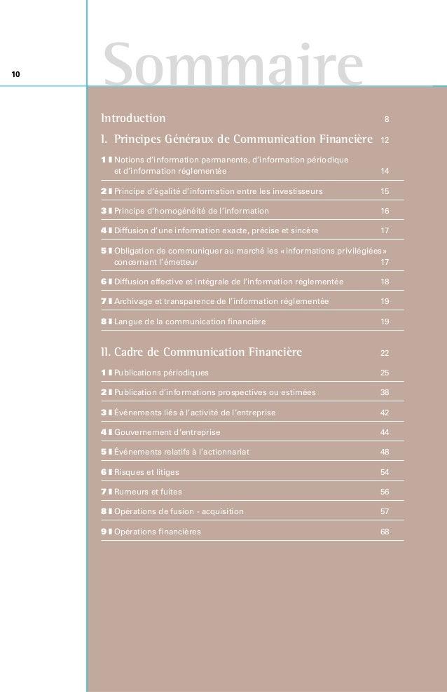 III. Pratiques de Communication Financière 76 1zCalendrier et organisation 79 2zMarketing financier et ciblage 82 3...