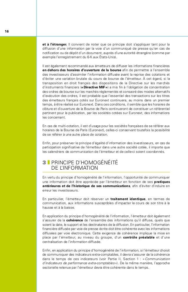 17 4zDIFFUSION D'UNE INFORMATION EXACTE, PRÉCISE ET SINCÈRE L'information délivrée au public par les émetteurs doit être...