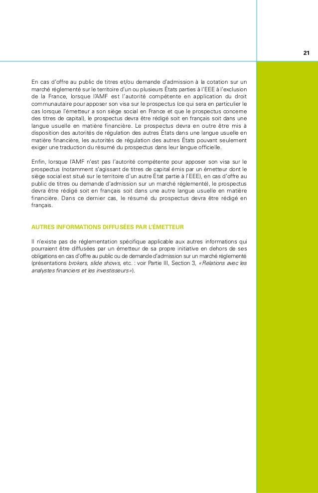 Cadre de Communication Financière Après la première partie consacrée aux principes généraux de la communication financière...