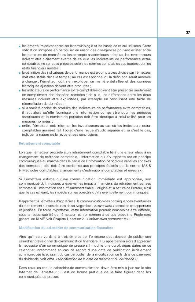 38 2zPUBLICATION D'INFORMATIONS PROSPECTIVES OU ESTIMÉES PUBLICATION D'INFORMATIONS PROSPECTIVES QUALITATIVES La communi...