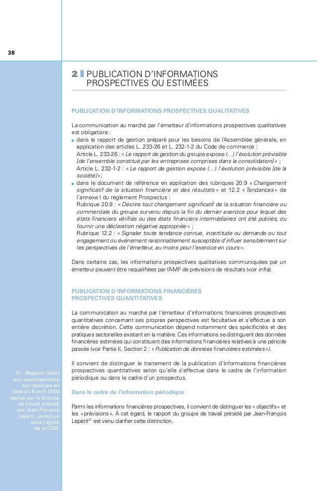 39 Ce rapport précise la notion d'objectifs en indiquant que «les objectifs traduisent de façon chiffrée et synthétique l...