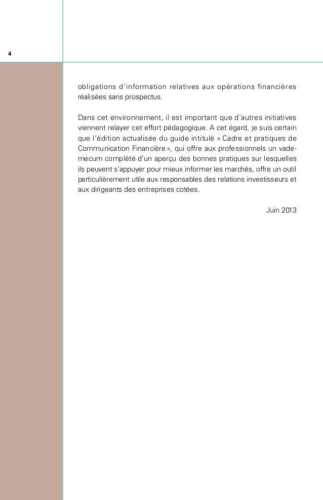 5 J'ai le grand plaisir de vous présenter la sixième édition du Guide «Cadre et Pratiques de Communication Financière» p...