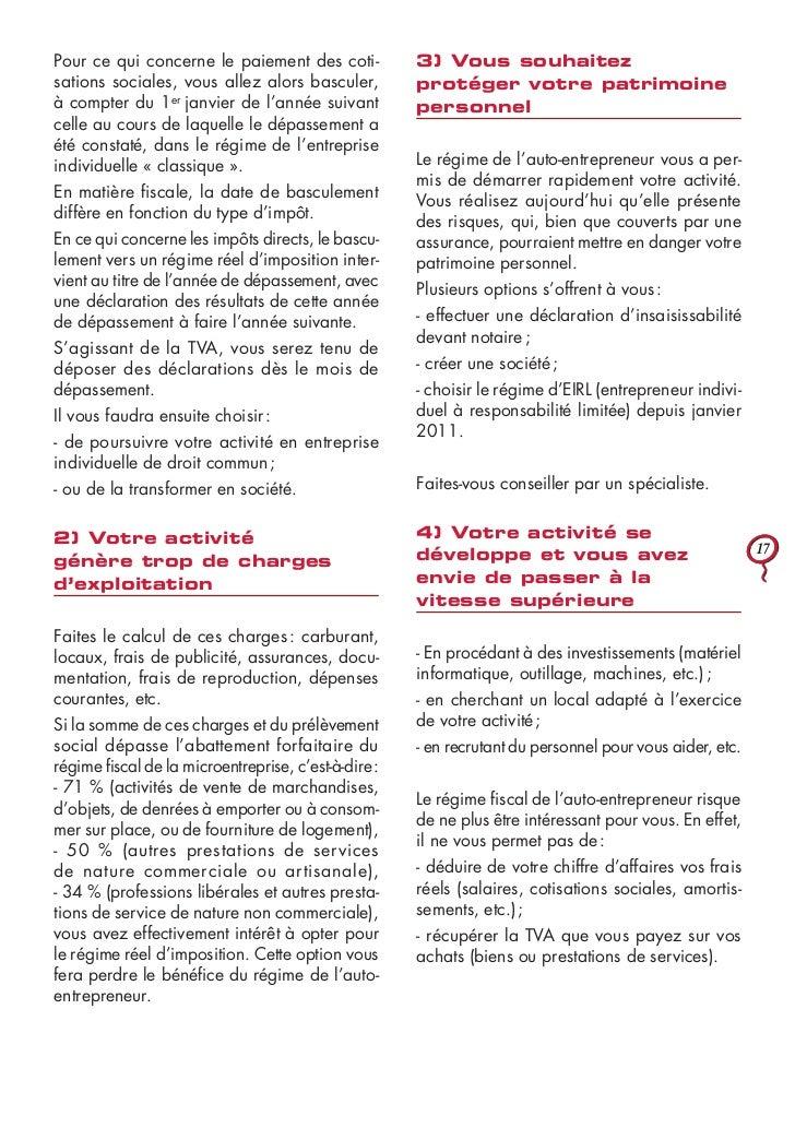 Guide officiel autoentrepreneur mars 2011 - Depassement plafond auto entrepreneur ...