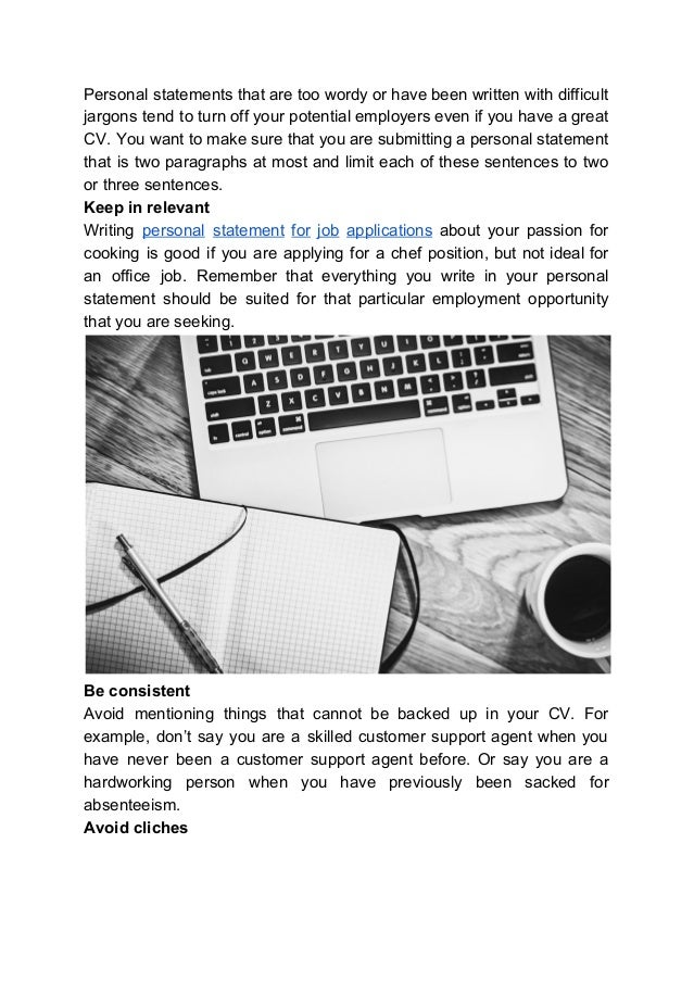 writing a personal statement for job