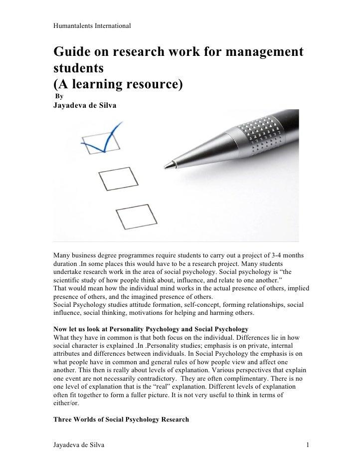 Humantalents InternationalGuide on research work for managementstudents(A learning resource)ByJayadeva de SilvaMany busine...
