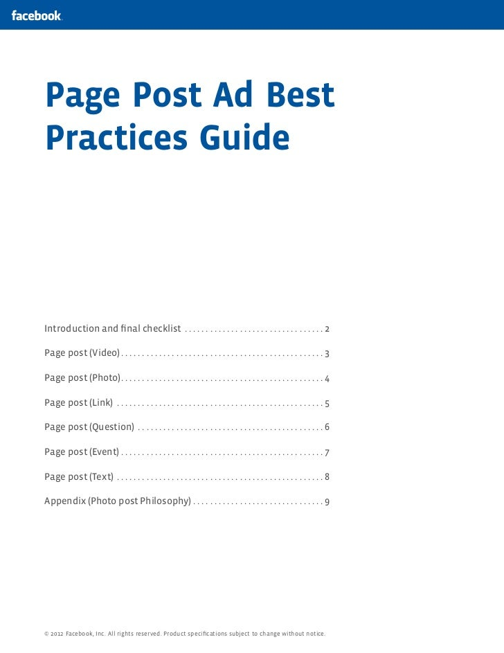 Page Post Ad BestPractices GuideIntroduction and final checklist .  .  .  .  .  .  .  .  .  .  .  .  .  .  .  .  .  .  .  ...