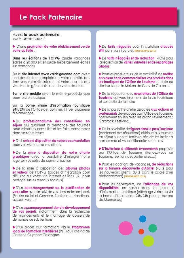 Guide du partenariat office de tourisme val de garonne 2015 - Office du tourisme de gap ...