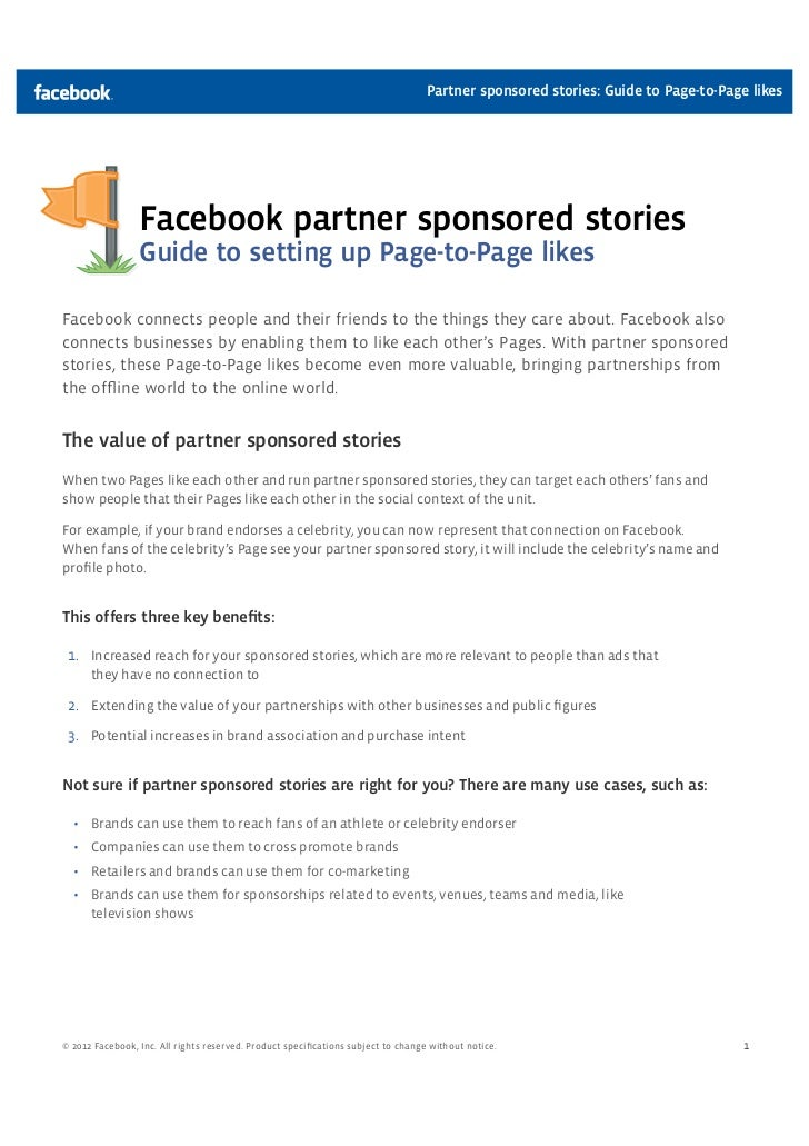 Partner sponsored stories: Guide to Page-to-Page likes                 Facebook partner sponsored stories                 ...