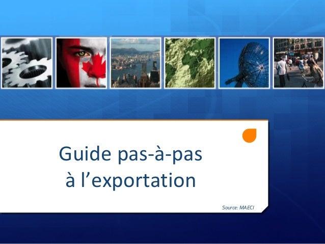 Guide pas-à-pasà l'exportationSource: MAECI