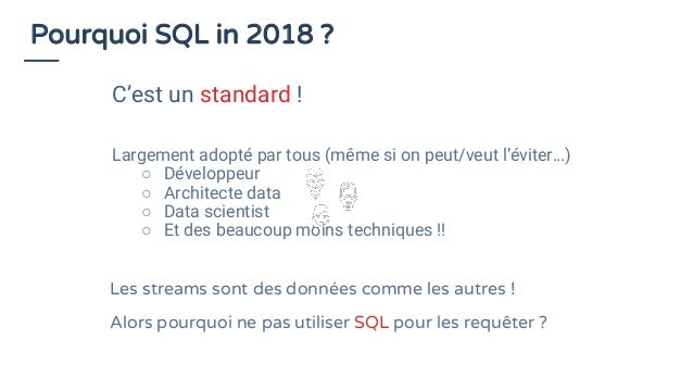 SQL vs. Stream processing Relational Algebra / SQL Stream Processing Relations (or tables) are bounded (multi-)sets of tup...
