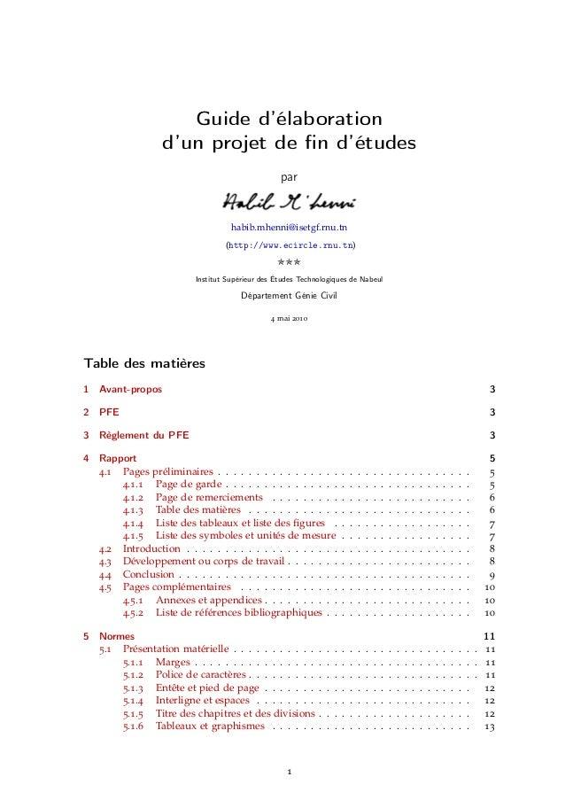 Guide d'élaboration                  d'un projet de fin d'études                                                 par       ...