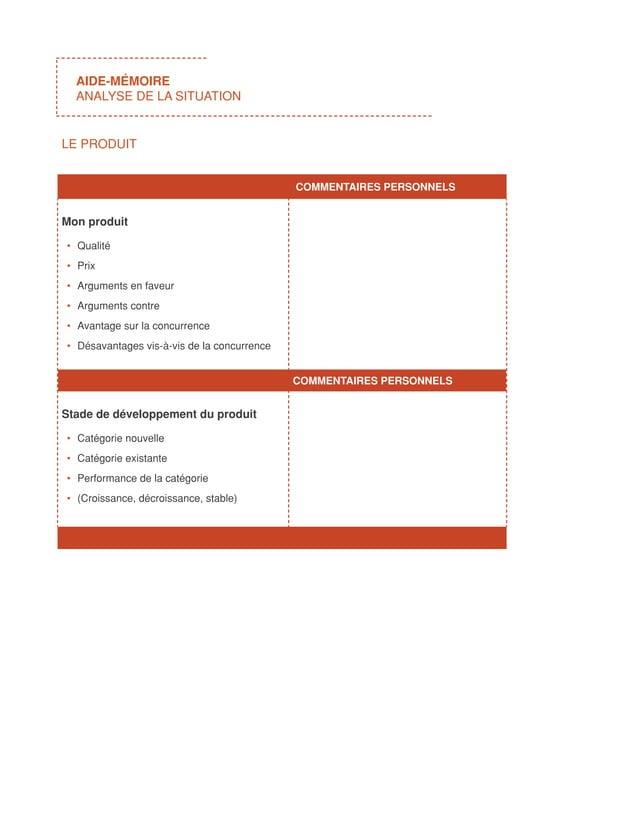 AIDE-MÉMOIRE  ANALYSE DE LA SITUATIONLE PRODUIT                                            COMMENTAIRES PERSONNELSMon pr...