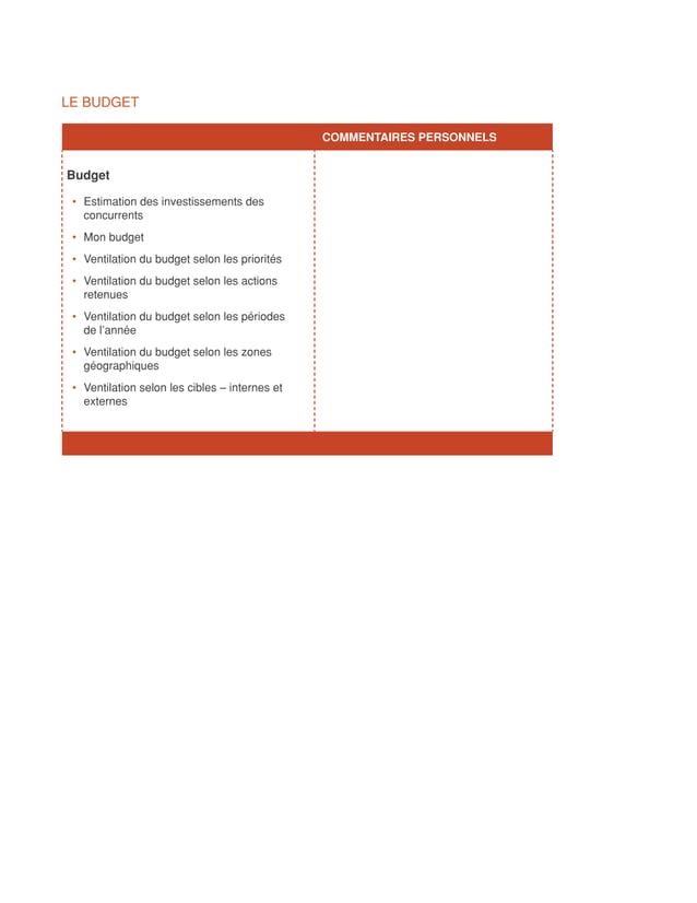 LE BUDGET                                               COMMENTAIRES PERSONNELSBudget • Estimation des investissements ...