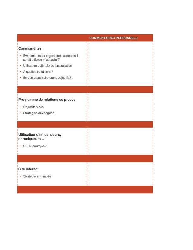 COMMENTAIRES PERSONNELSCommandites • Événements ou organismes auxquels il    serait utile de m'associer? • Utilisation o...