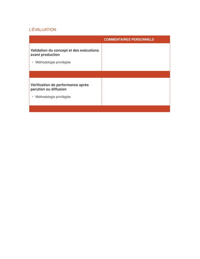 L'ÉVALUATION                                        COMMENTAIRES PERSONNELSValidation du concept et des exécutionsavant ...