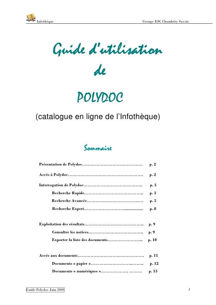 Infothèque                                        Groupe ESC Chambéry Savoie                     Guide d'utilisation      ...