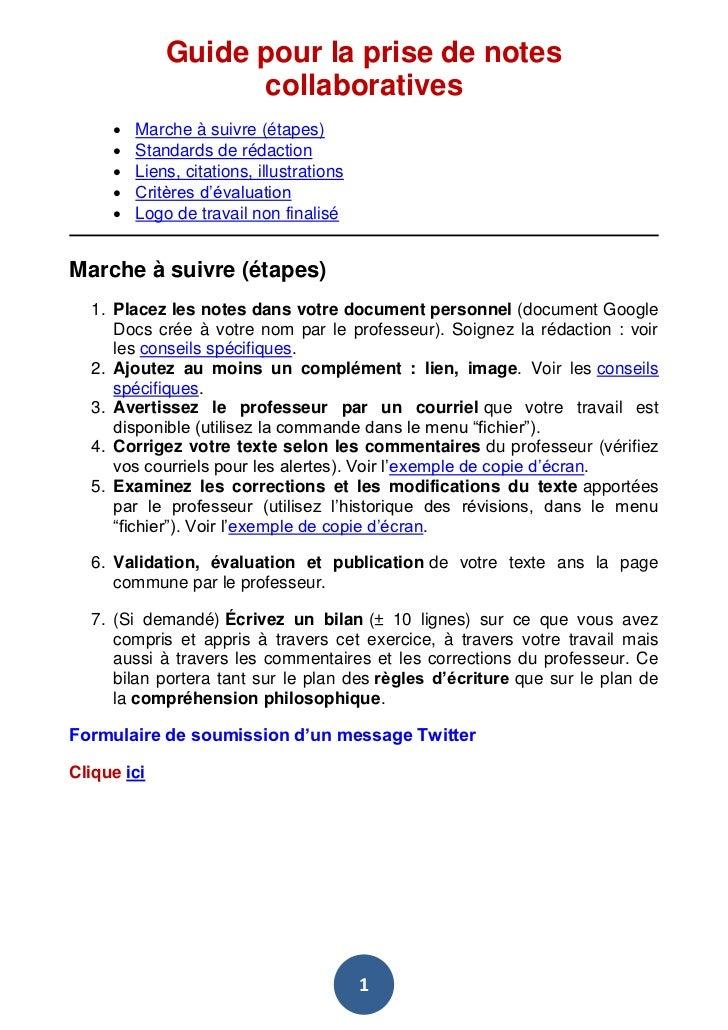 Guide pour la prise de notes                   collaboratives        Marche à suivre (étapes)        Standards de rédact...