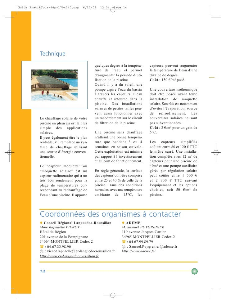 Guide pratique environnement crci languedoc roussillon for Cout piscine coque posee