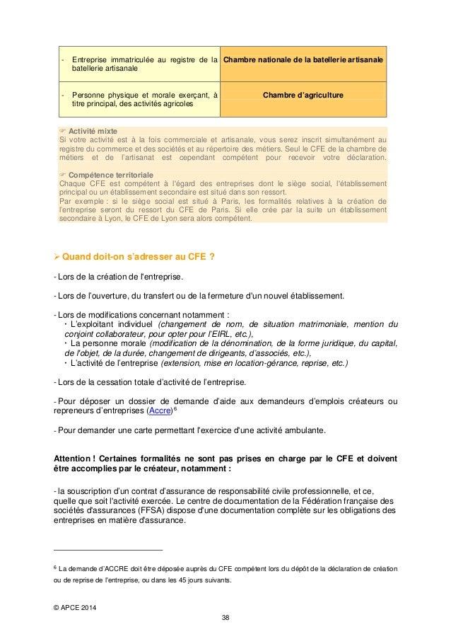 Guide pratique du cr ateur d 39 entreprise 2014 - Chambre des metiers inscription auto entrepreneur ...