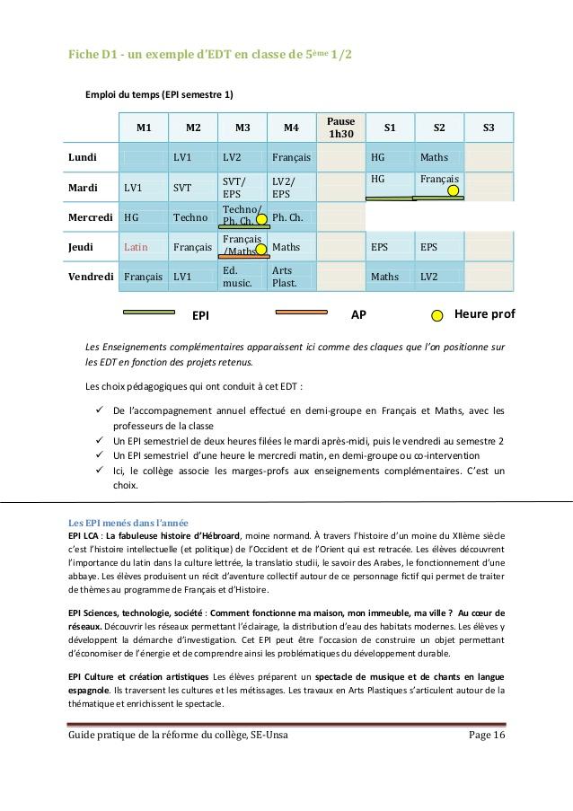 Fabuleux Guide pratique pour la réforme du collège FD61