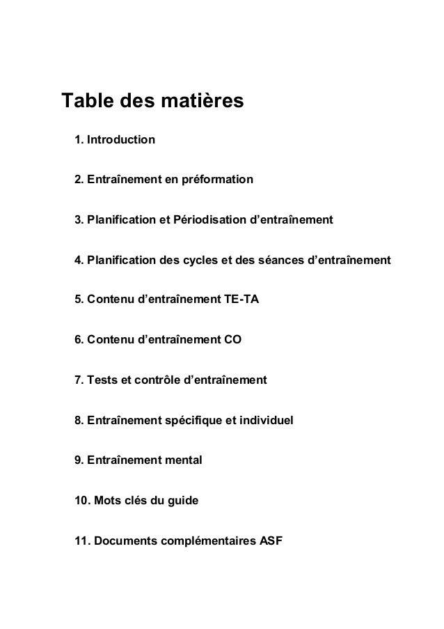 Table des matières 1. Introduction 2. Entraînement en préformation 3. Planification et Périodisation d'entraînement 4. Pla...