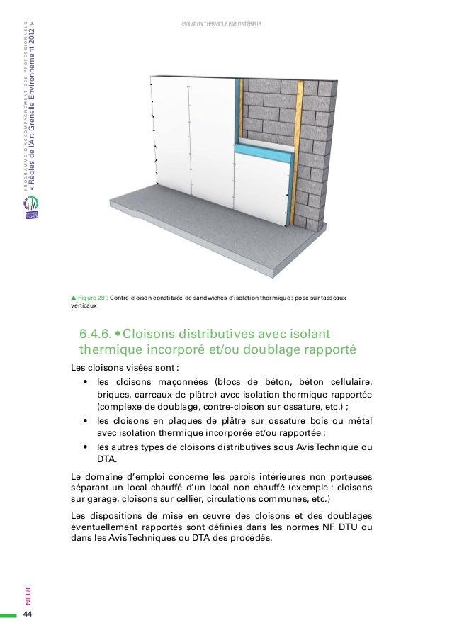 Rgle De LArt Isolation Thermique Interieur En Neuf