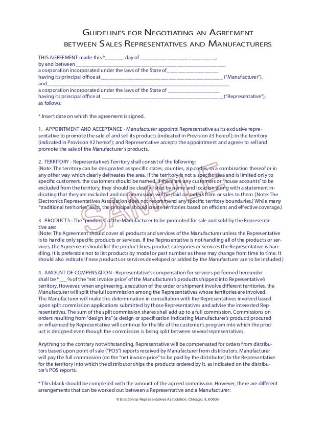 Guidelines For Negotiating Rep Agreements