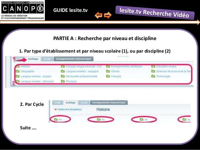 Guide second degré de recherche vidéo lesite.tv par Canopé Aisne Slide 2