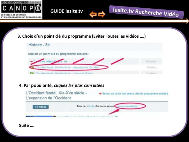 Guide second degré de recherche vidéo lesite.tv par Canopé Aisne Slide 3