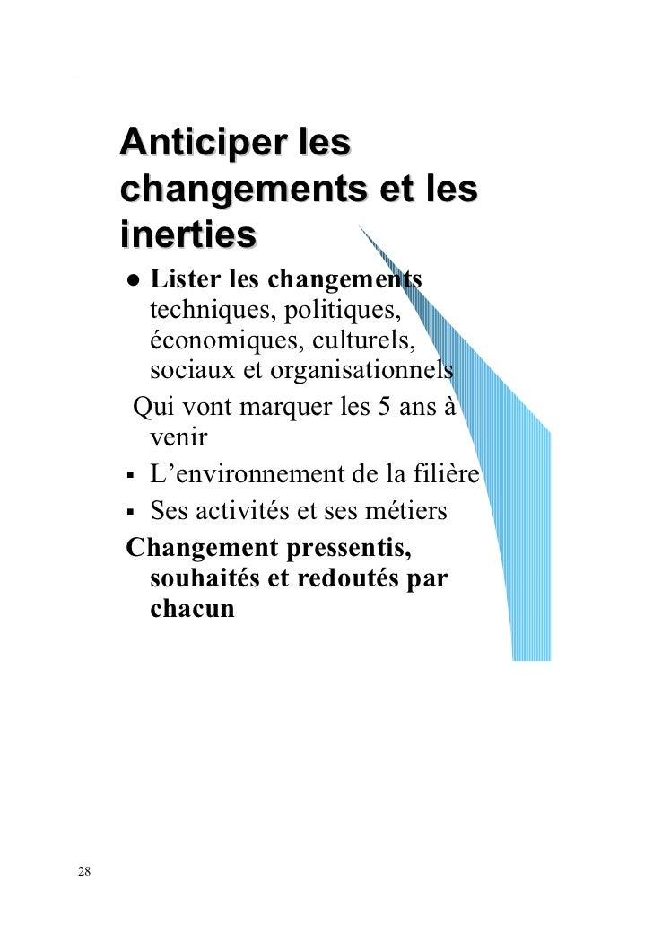 Anticiper les     changements et les     inerties      Lister les changements      techniques, politiques,      économique...