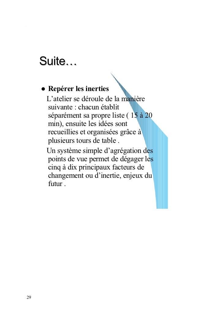 Suite…      Repérer les inerties      L'atelier se déroule de la manière      suivante : chacun établit      séparément sa...
