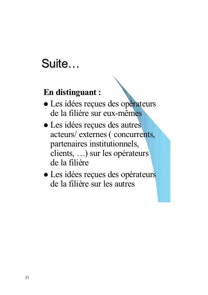 Suite…     En distinguant :      Les idées reçues des opérateurs      de la filière sur eux-mêmes      Les idées reçues de...
