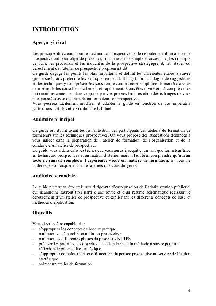 INTRODUCTIONAperçu généralLes principes directeurs pour les techniques prospectives et le déroulement d'un atelier deprosp...