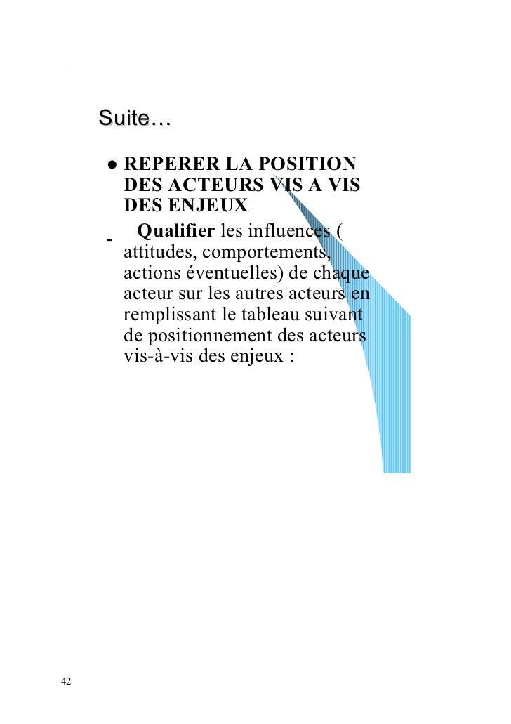 Suite…       REPERER LA POSITION       DES ACTEURS VIS A VIS       DES ENJEUX         Qualifier les influences (       att...