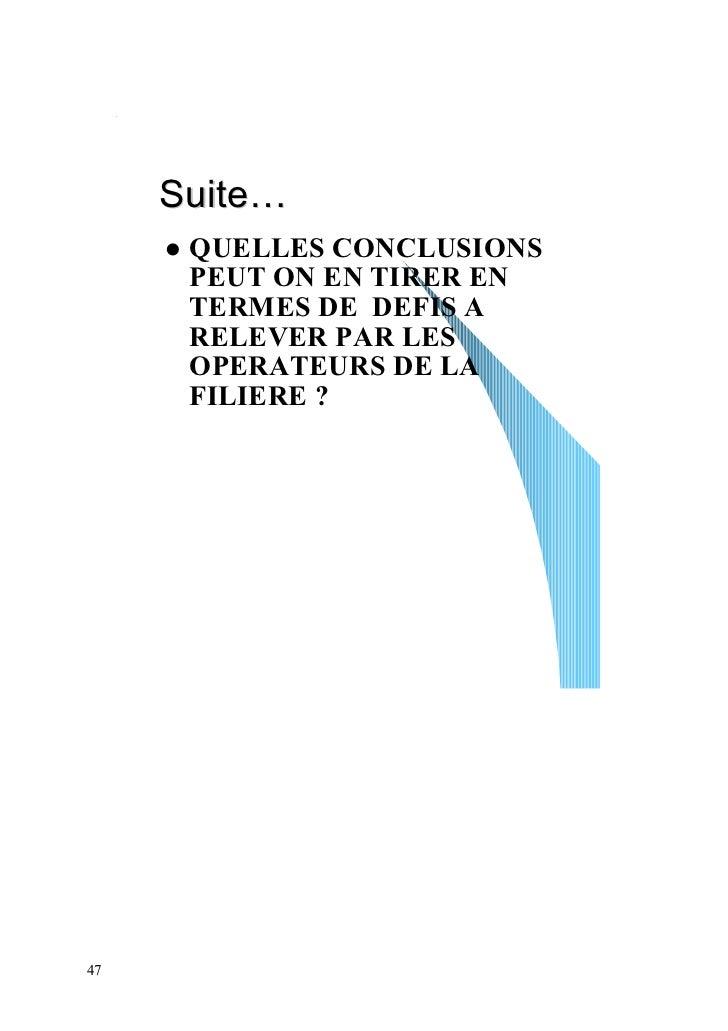 Suite…      QUELLES CONCLUSIONS      PEUT ON EN TIRER EN      TERMES DE DEFIS A      RELEVER PAR LES      OPERATEURS DE LA...
