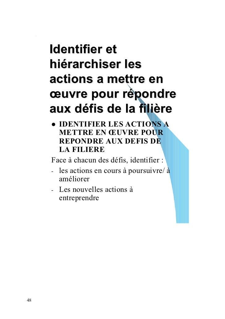 Identifier et     hiérarchiser les     actions a mettre en     œuvre pour répondre     aux défis de la filière       IDENT...