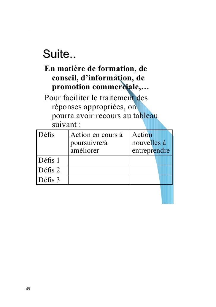 Suite..       En matière de formation, de         conseil, d'information, de         promotion commerciale,…       Pour fa...