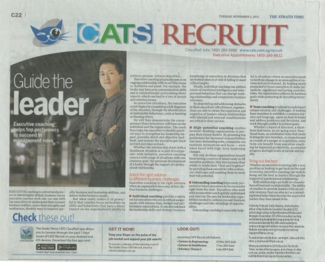 Guide the Leader with Executive Coaching  in ST Recruit  5 Nov 2013