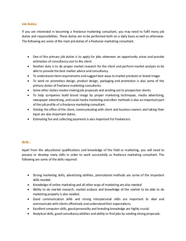 Duties Of A Marketing Consultant] Duties Of A Marketing Consultant ...